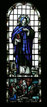 Stained Glass of St. Non in St. Non's Chapel in Wales. 2009