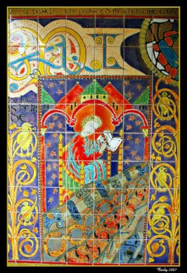 Modern day mosaic of Bede at the underpass near the bus station in Jarrow, just a few yards from where Bede lived