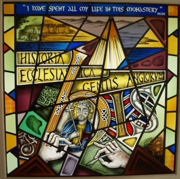 Stained Glass of Bede at Bede's World