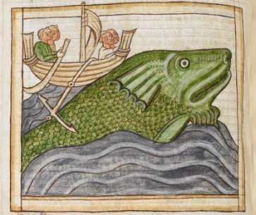 St. Brendan celebrates Easter on a whale...of an island! BL Harley MS 3244