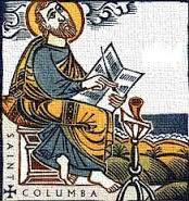 Columba copying a manuscript in Iona's scriptorium