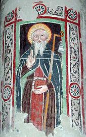 Fresco of St. Columbanus at Brugnato Cathedra, Italy
