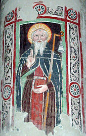 Fresco of St. Columbanus at Brugnato Cathedra, Italy