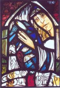 """Stained glass panel by Joanna C. Scott """"Pilgrims at the waters of the Spring of St Ebba"""""""