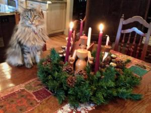 St. Hilda of Whitby cat celebrating Advent.