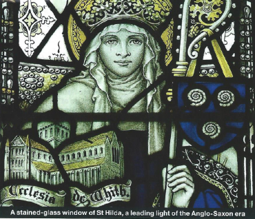 St. Hilda of Whitby stained glass from Sneaton Castle, UK