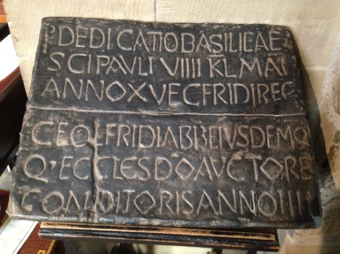 """Dedication stone of St. Paul's Church, Jarrow. """"Dedicatio basilicae sci Pauli VIIII KL Mai Anno XV Ecfridi Reg Ceolfrdi Abb eiusdem Q eccles do auctore conditoris Anno IIII."""" The dedication of the church of St. Paul on the 9th of the Kalends of May in the fifteenth year of King Egfrith and the fourth year of Ceolfrith, abbot, and with God's help, founder of this church."""