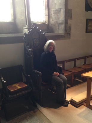 Sitting on the Bishop's Throne Chair in St. Peter and Paul's Church, Jarrow. Oct. 2014
