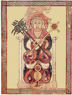 A carpet page of the Lichfield Gospels