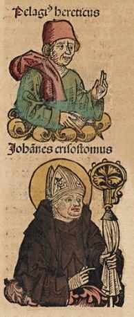 Pelagius and John Chrysostom in the Nuremburg Chronicle. 1493.