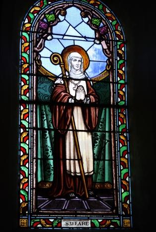 st. burgundofara. stained glassLa Celle-sur-Morin Saint-Sulpice. photo by G Freihalter