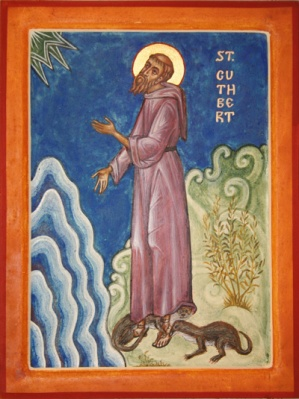 St. Cuthbert by Aidan Hart. It is said that otters licked his feet as he stood in the icey waters to pray for hours on end.
