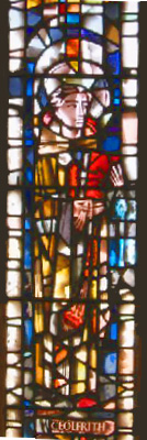 Stained Glass of St. Ceolfrith in St. Peter's Church, Wearmouth