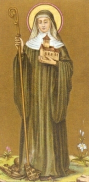 Icon of Abbess Theodechilde holding her abbey in her left hand and her staff in her right hand