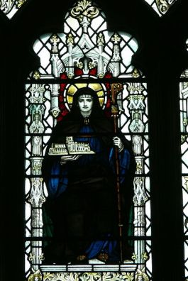 Stained Glass window of St. Werburga in Chester Cathedral