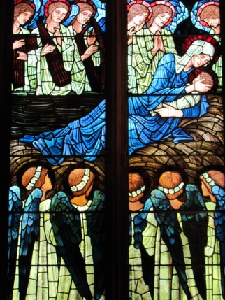 The Nativity at St. Deiniol's Church, Hawarden. Stained glass by Edward B Jones before he died. photo by