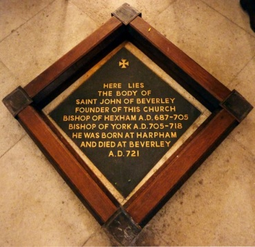 The plaque marking John's burial place in the Beverley Minster