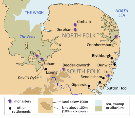 East Anglia in Anglo-Saxon times. from wikipedia