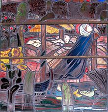 St. Frideswide praying at the pigsty turned into a chapel. Stained glass at Christ Church, Oxford