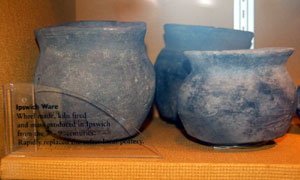 Ipswich ware found at West Stowe. Beginning about 700 AD, this pottery began to be produced in Ipswich in factories using a pottery wheel.